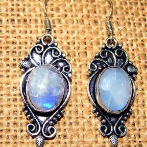Mesmerizing Moonstone Silver Earring